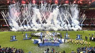 Real Madrid celebrate in Cardiff