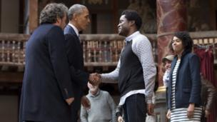 Barack Obama meeting the actors at the Globe