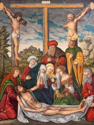 Pintura de la deposición de la Cruz en la iglesia Marienkirche del taller de Lucas Cranach (1536).