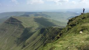 View across the Brecon Beacons from Pen y Fan