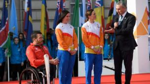Kurt Fearnley, Anna Meares and Victoria Pendleton
