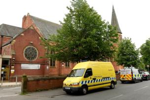 A police mobile video unit deployed outside Didsbury Mosque in Greater Manchester