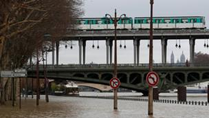 View of the flooded banks of the River Seine in Paris, France, after days of almost non-stop rain caused flooding in the country, 23 January 2018