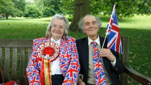 """Margaret Tiler and David Jones from Wembley, London, are getting ready for """"The Patron's Lunch"""" celebrations for The Queen""""s 90th birthday at The Mall"""