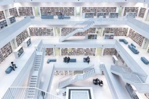 "Norbert Fritz won the Cities category with his image of the sparse interior of Stuttgart's city library. He said, ""With its wide open space in the centre... it has a very unique atmosphere, where you can broaden your knowledge."""