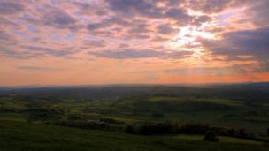 Sunset view from the war memorial in Montgomery, Powys
