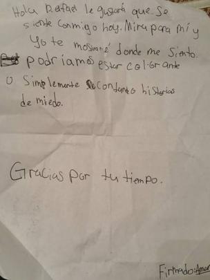 Carta de Amanda Moore a Rafael