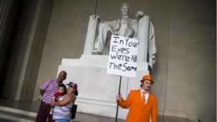Zach Vance, from Utah County, Utah, poses for a photo in front of the Lincoln Memorial, before the start of the Juggalo March, September 16, 2017 in Washington, DC