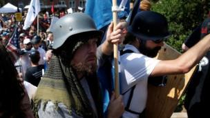 Two far-right protesters in Charlottesville, Virginia