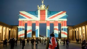 Brandenburg Gate lit in Union Jack colours