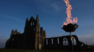 A beacon was lit at Whitby Abbey in North Yorkshire