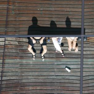 People sitting down as seen from above