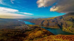 A view of Llyn Padarn and Peris from the slopes of Derlwyn, captured by Gethin Owen