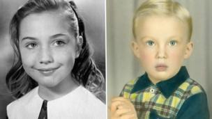 Hillary Clintonkama mtoto (ilitumwa kwenye Instagram yake/ Donald Trump akiwa na umri wa miaka 4