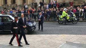 Prince William arrives at the Weston Library with the Lord Lieutenant watched by crowds
