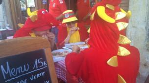 Welsh dragons took time out to refuel before the game