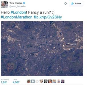 Tim Peake tweets a message about the marathon from space