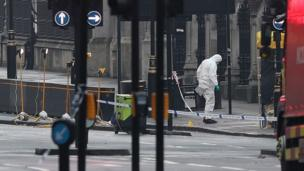 Forensics officers close to the Houses of Parliament in London