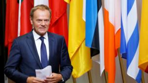 EU Council President Tusk arrives to brief the media after Brexit