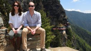 Duke and Duchess of Cambridge sit overlooking the Tiger's Nest monastery in Bhutan on 15 April 2016