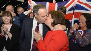 DUP MP Nigel Dodds gets a congratulatory kiss from his wife, DUP MEP Diane Dodds