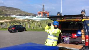 Coastguard personnel at scene of grounding of Transocean Winner