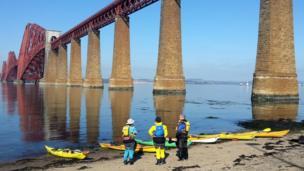 Kayakers at the Forth Bridge