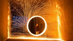 Fire spinning in Carnoustie