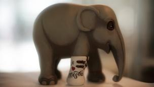 A figurine of Mosha is seen at the Asian Elephant Foundation in Lampang, Thailand