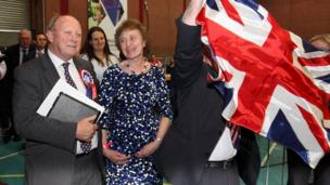 Jim Allister celebrates his north Antrim seat with his wife, Ruth