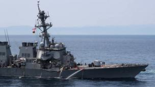 Guided missile destroyer USS Fitzgerald off the Shimoda coast after it collided with a Philippine-flagged container ship on June 17, 2017