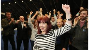 Here's for the Greens: Clare Bailey celebrates her election in South Belfast