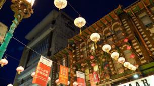 美国旧金山中国城张灯结彩