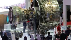 An aircraft engine is displayed during the Dubai Airshow on November 14, 2017, in the United Arab Emirates