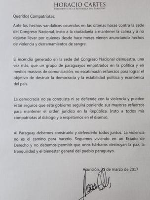 Comunicado de Horacio Cartes