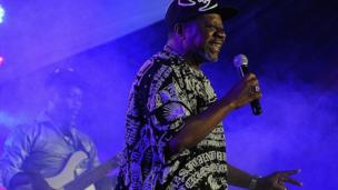 Congolese musician Papa Wemba on stage in Nairobi, Kenya, in 2014