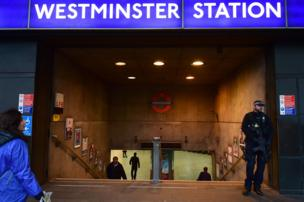 Armed police outside Westminster underground station, Friday morning