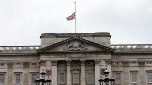 The union flag at half mast at Buckingham Palace