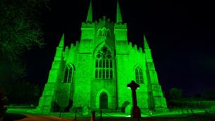 Down Cathedral, in Downpatrick, Northern Ireland, is believed to be the burial place of St Patrick