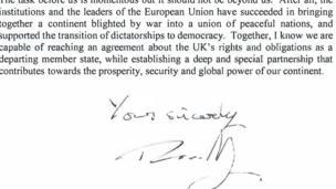 จดหมายของนายกรัฐมนตรีเทเรซา เมย์
