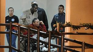 Former Panamanian dictator Manuel Noriega arrives at the Renacer prison, 25 km south east of Panama City, on December 11, 2011
