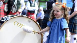 A girl is pictured at the Twelfth parade in Bangor