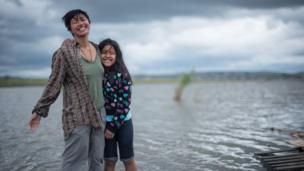 Amihan, 19, pictured here with a friend she made in the Sacred Stone Camp