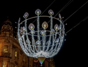 Street decorations in central London at Christmas.