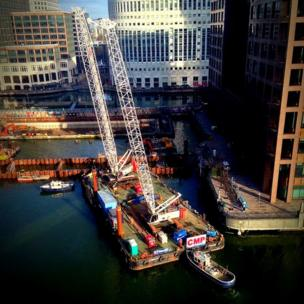Barge mounted cranes at Canary Wharf