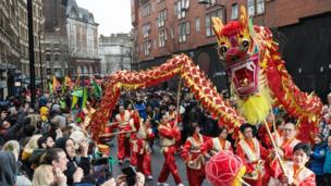 Performers take part in a dragon dance during the Chinese New Year parade