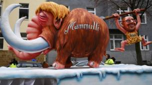 Float mocking Ms Merkel and Martin Schulz