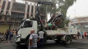 Car cleared away in Karrada, Baghdad. 3 July 2015
