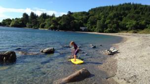 Girl on a surfboard