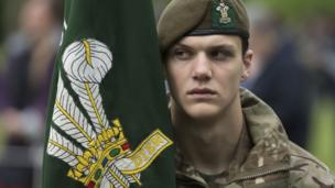 Member of the Royal Welsh at Somme service in Cardiff